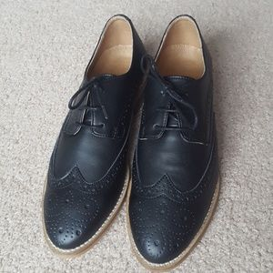 Shoes - Imported Leather Black Wing Tip Shoes